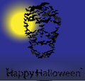 Halloween vector card skull shape of bats on night sky Stock Photo