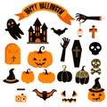 Halloween vector clipart set. Spooky pumpkin icons.