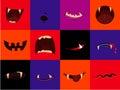 Halloween vector icon set - cartoon monster mouths. Vampire, werewolf, pumpkin, ghost Royalty Free Stock Photo