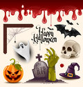 Halloween vector icons set of design elements grouped and layered Royalty Free Stock Images