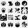 Halloween vector icons set on gray icon isolated grey background eps file available Royalty Free Stock Photography