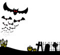 Halloween a vector illustration of bats against the full moon Royalty Free Stock Images