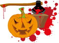 Halloween vector illustration of the pumpkin with an axe Stock Photo