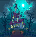 Halloween vector illustration with scary house, moon and pumpkin. Royalty Free Stock Photo