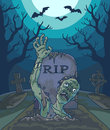 Halloween vector illustration with spooky zombie dead man, moon and grave.