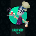 Halloween vector illustration in style flat about vampire chef for menu party or cards Stock Image