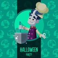 Halloween vector illustration in style flat about vampire chef for menu party or cards Royalty Free Stock Image