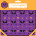 Halloween vector seamless patterns on the lilac background in the package with shadow.