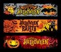 Halloween vector set of horizontal grunge banners Royalty Free Stock Photo