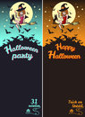 Halloween vertical banners - party invitation card and greetings Royalty Free Stock Photo