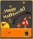 Halloween vintage card retro in style illustration Stock Image