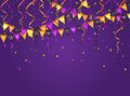 Halloween violet background with pennants and streamers
