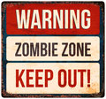 Halloween warning sign. Beware of zombies. Vector illustration. Royalty Free Stock Photo