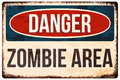 Halloween warning sign. Danger, zombie area. Vector illustration, eps10. Royalty Free Stock Photo