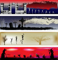 Halloween Web Banner Templates Royalty Free Stock Photo