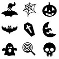 Halloween web and mobile logo icons collection Royalty Free Stock Photo
