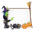 Halloween witch background sign frame with pumpkin s black cats and broomstick copyspace for your text Royalty Free Stock Photography