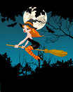 Halloween witch banner flying on broom Stock Images