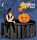 Halloween witch with a bat and pumpkin sitting on the table illustration Royalty Free Stock Image