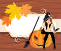 Halloween witch with a bat on the wooden background illustration Royalty Free Stock Photos