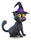 Halloween witch cat a cartoon s familiar black wearing a pointy s hat ready for Royalty Free Stock Photos