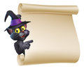 Halloween Witch Cat Scroll Royalty Free Stock Photo