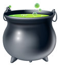 Halloween witch cauldron cartoon s with green bubbling s brew in it Stock Photos
