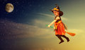 Halloween. Witch child flying on broomstick at sunset night sky. Royalty Free Stock Photo