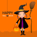 Halloween witch cute girl with broomstick and pumpkin illustration of Stock Photo