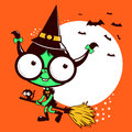 Halloween witch flying with broom a little girl her and her cat on night Royalty Free Stock Images