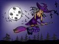Halloween witch flying at night on the background of moon Stock Photos