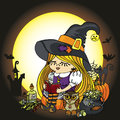 Halloween witch girl reading book moon pumpkin cat little items boiler owl wing cobwebs bats poison on the background of the Stock Photos