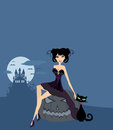Halloween witch and her cat illustration Royalty Free Stock Images