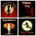 Halloween witch party set theme witches silhouettes with wording happy and free font used Royalty Free Stock Images