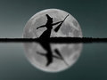 Halloween witch silhouette flying with broomstick. Full Moon. Re Royalty Free Stock Photo