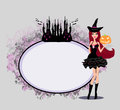 Halloween witch standing with pumpkin Royalty Free Stock Photos