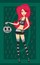 Halloween witch standing with pumpkin illustration Stock Photos
