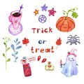 Hand painted Halloween magical symbols set on white background, isolated. Cute cartoon style.