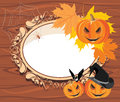 Halloween wooden frame with pumpkins illustration Royalty Free Stock Image