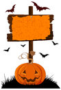 Halloween Wooden Sign Royalty Free Stock Photo