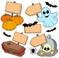 Halloween wooden signs collection Royalty Free Stock Image