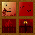 Halloween through wooden window Royalty Free Stock Photos