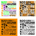 Halloween word art set of four sets with various backgrounds use together as a background or decoration or use as clip stamps or Stock Images