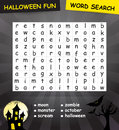 Halloween word search game the words may be horizontally vertically and diagonally Stock Image