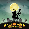 Halloween zombie hunter with rifle in graveyard