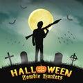 Halloween zombie hunter with rpg in graveyard