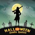 Halloween zombie hunter with shotgun in graveyard