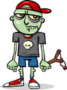 Halloween zombie kid cartoon illustration of spooky ugly Royalty Free Stock Photography