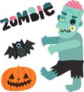 Halloween zombie monster character with pumpkin and bat Stock Photos