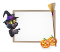 Halloween zwarte cat sign Stock Foto's